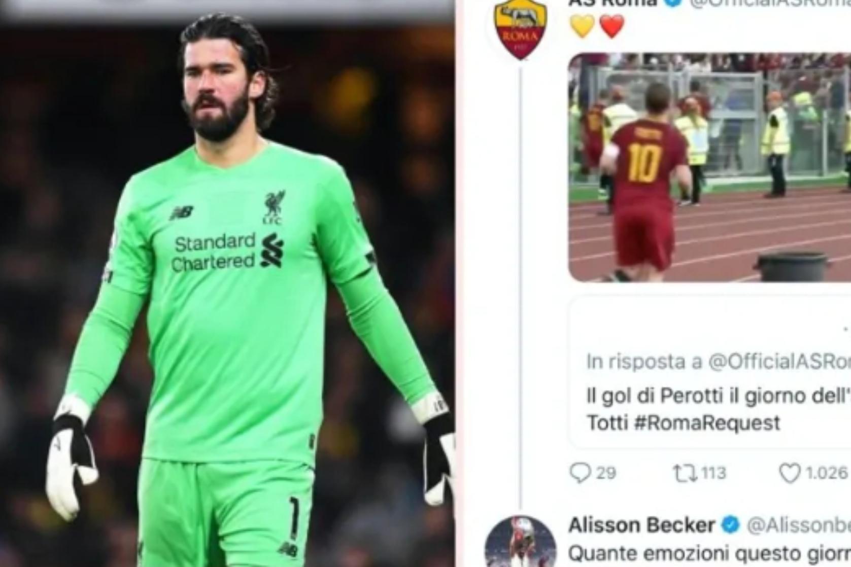 阿利森社交媒体回顾托蒂告别,罗马球迷:那就回家吧-今球app官网
