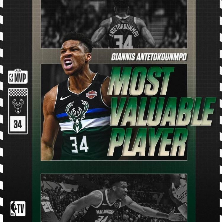 官方:字母哥当选2019-20赛季NBA常规赛MVP-今球app官网