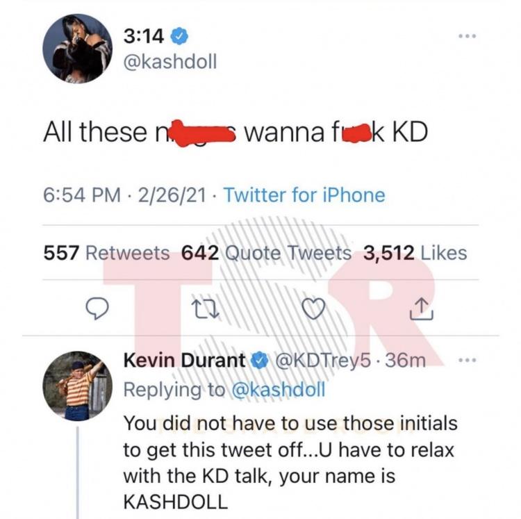 女歌手发推:所有*人都想*KD 杜兰特评论:没必要非得用这俩字母-今球app官网