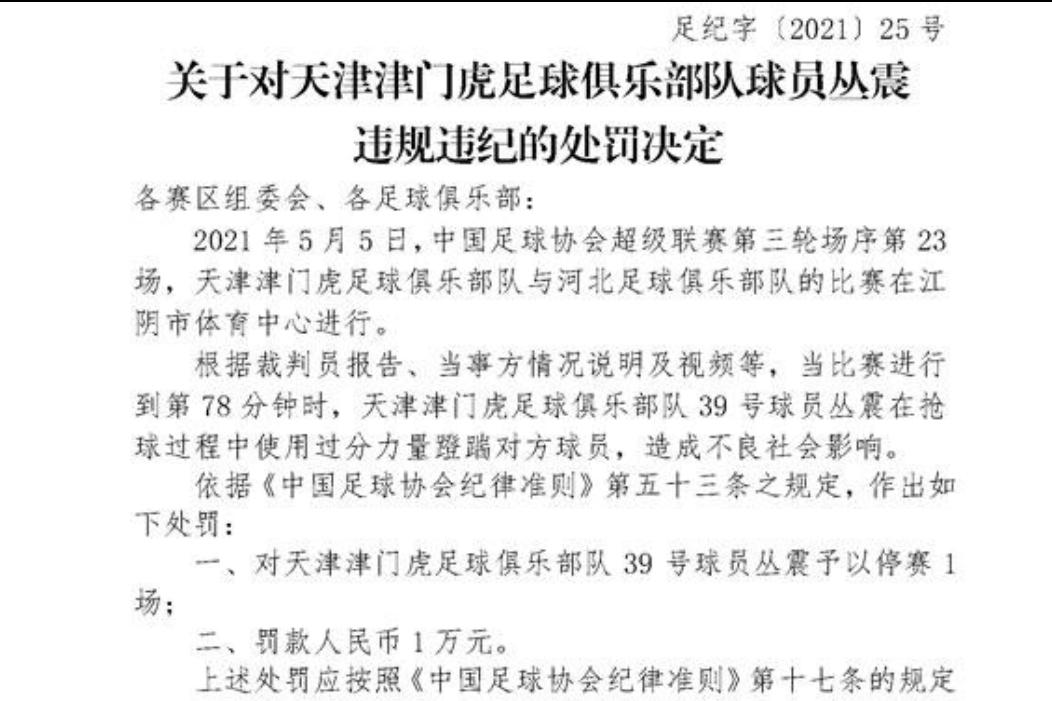 足协官方:津门虎球员丛震停赛一场,罚款1万元-今球app官网