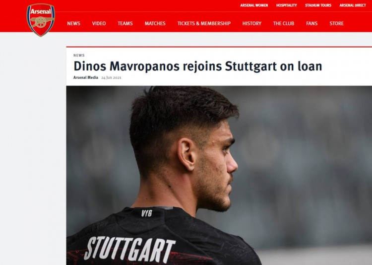 官方:阿森纳中卫马夫罗帕诺斯租借斯图加特一年,含买断条款-今球app官网